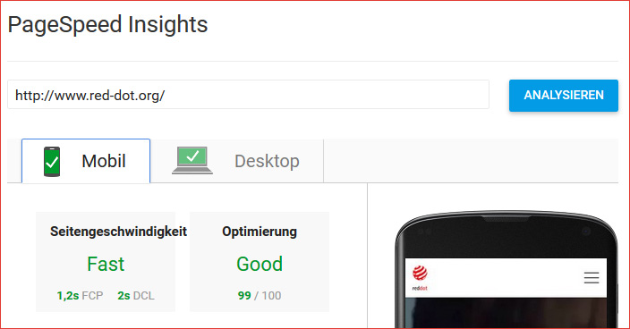 PageSpeed Insights Screenshot