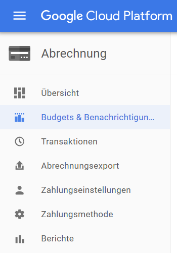 Screenshot Abrechnung Google Cloud Platform