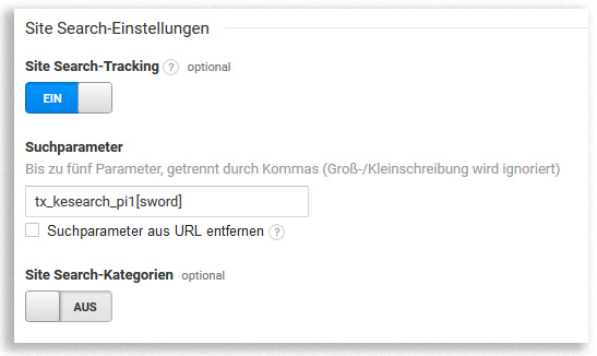 Site Search in Google Analytics einstellen