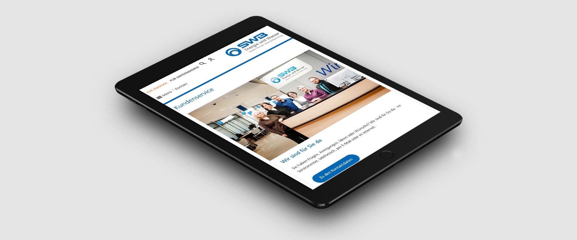 SWB Energie und Wasser Kundenkontakt Screenshot